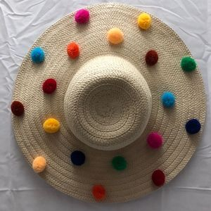 Betsey Johnson Accessories - Betsey Johnson Pompom Trim Floppy Sun Hat 6eb9e5a4fb11